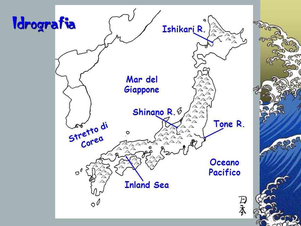Mar del Giappone Ishikari R. Stretto di Corea Oceano Pacifico Inland Sea Tone R. Shinano R. Idrografia