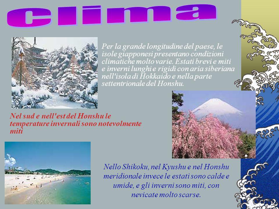 Per la grande longitudine del paese, le isole giapponesi presentano condizioni climatiche molto varie. Estati brevi e miti e inverni lunghi e rigidi c