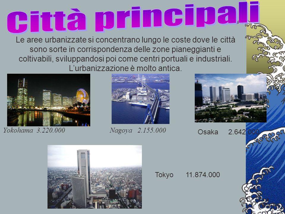 Yokohama 3.220.000 Le aree urbanizzate si concentrano lungo le coste dove le città sono sorte in corrispondenza delle zone pianeggianti e coltivabili,