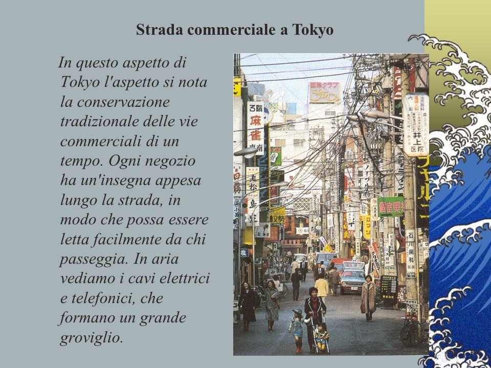 In questo aspetto di Tokyo l'aspetto si nota la conservazione tradizionale delle vie commerciali di un tempo. Ogni negozio ha un'insegna appesa lungo