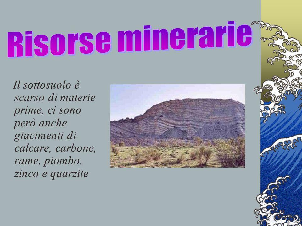 Il sottosuolo è scarso di materie prime, ci sono però anche giacimenti di calcare, carbone, rame, piombo, zinco e quarzite