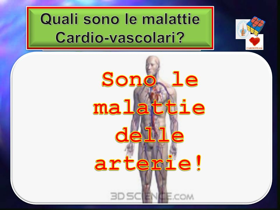 La cardiopatia ischemica: - Angina pectoris - Infarto miocardico - La morte improvvisa, etc Le arteriopatie: Cerebrali -> AIT (atacco ischemico transi