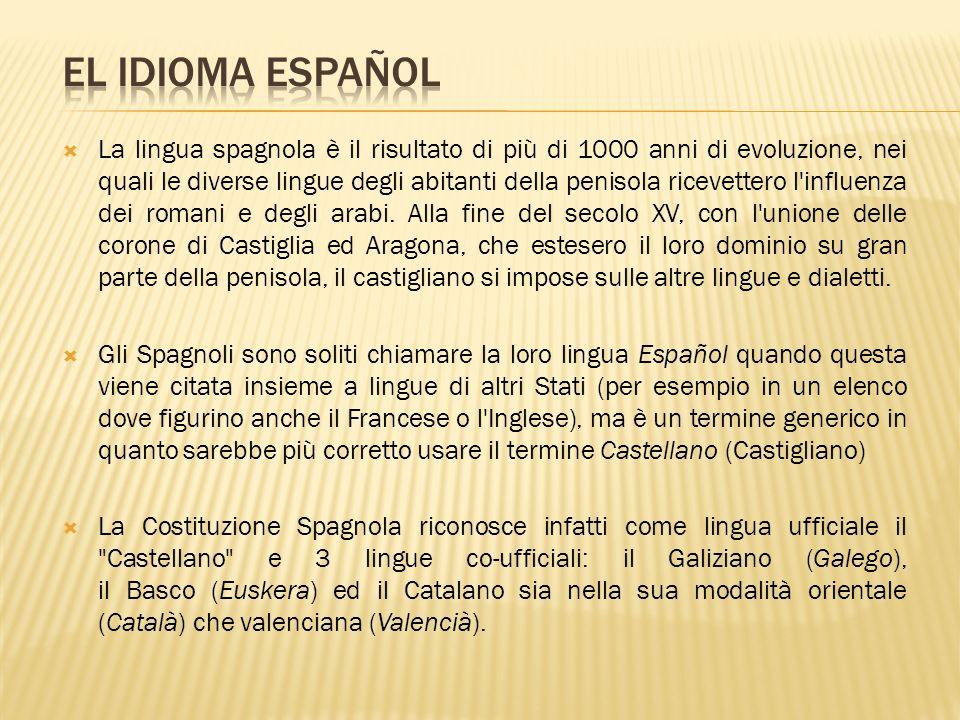La lingua spagnola è il risultato di più di 1000 anni di evoluzione, nei quali le diverse lingue degli abitanti della penisola ricevettero l'influenza