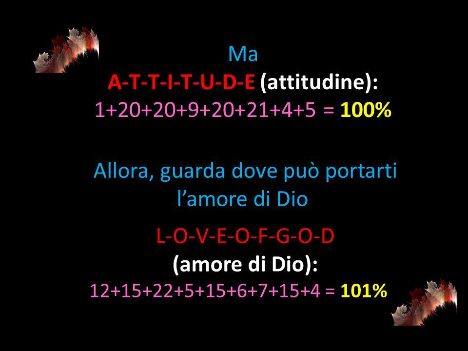 Ma A-T-T-I-T-U-D-E (attitudine): 1+20+20+9+20+21+4+5 = 100% Allora, guarda dove può portarti lamore di Dio L-O-V-E-O-F-G-O-D (amore di Dio): 12+15+22+