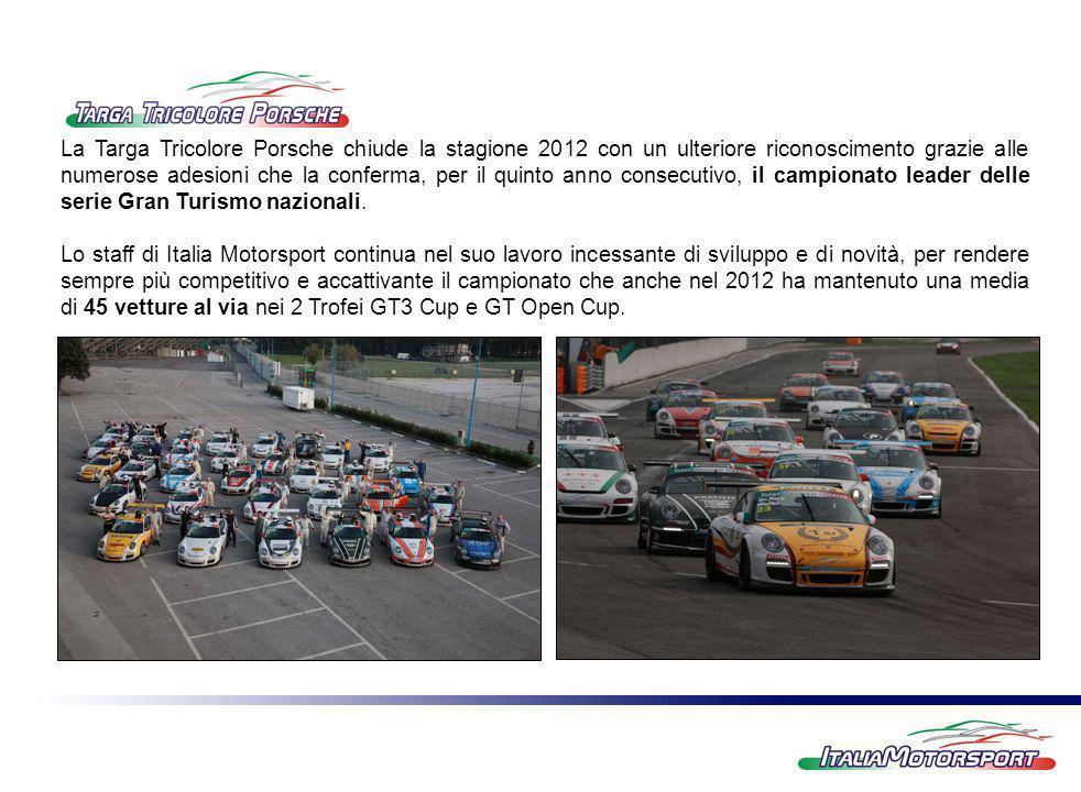 La Targa Tricolore Porsche chiude la stagione 2012 con un ulteriore riconoscimento grazie alle numerose adesioni che la conferma, per il quinto anno consecutivo, il campionato leader delle serie Gran Turismo nazionali.