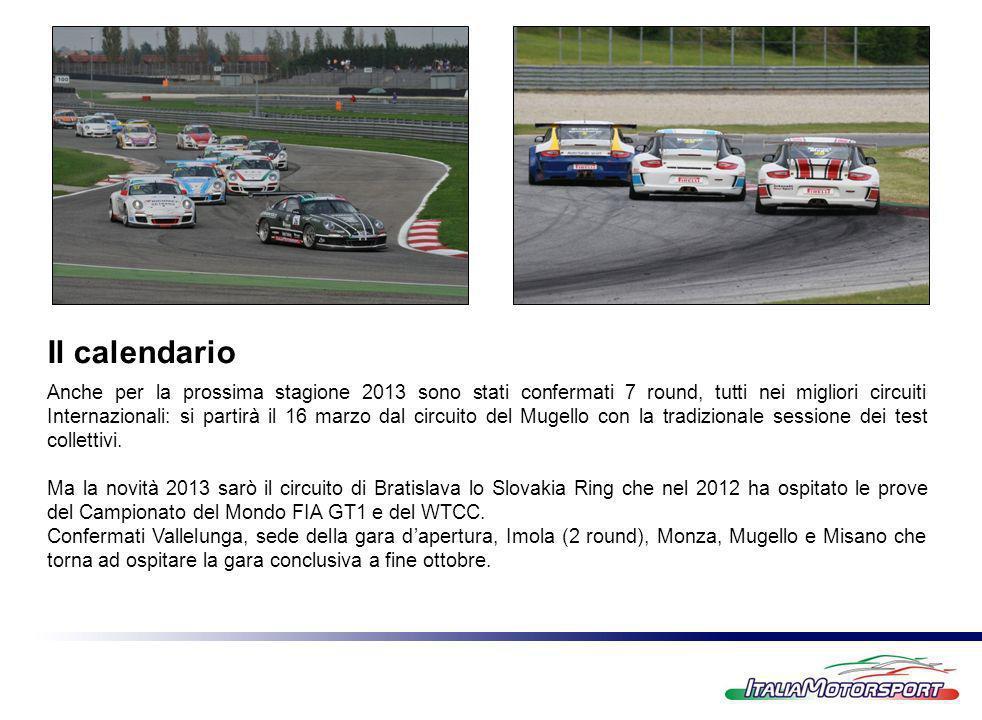 Il calendario Anche per la prossima stagione 2013 sono stati confermati 7 round, tutti nei migliori circuiti Internazionali: si partirà il 16 marzo dal circuito del Mugello con la tradizionale sessione dei test collettivi.