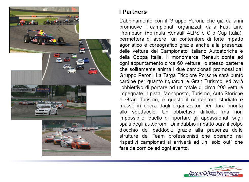 Labbinamento con il Gruppo Peroni, che già da anni promuove i campionati organizzati dalla Fast Line Promotion (Formula Renault ALPS e Clio Cup Italia), permetterà di avere un contenitore di forte impatto agonistico e coreografico grazie anche alla presenza delle vetture del Campionato Italiano Autostoriche e della Coppa Italia.
