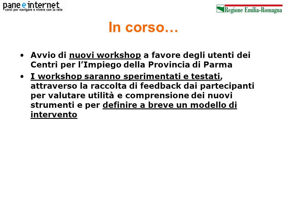 In corso… Avvio di nuovi workshop a favore degli utenti dei Centri per lImpiego della Provincia di Parma I workshop saranno sperimentati e testati, at