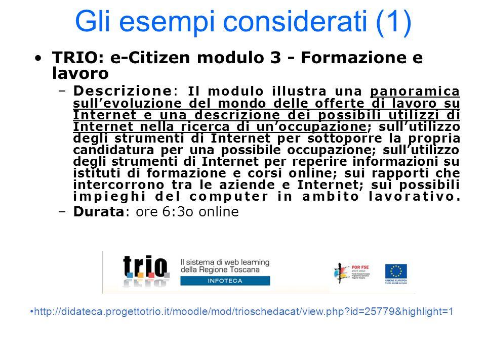 Gli esempi considerati (1) TRIO: e-Citizen modulo 3 - Formazione e lavoro –Descrizione: Il modulo illustra una panoramica sullevoluzione del mondo del