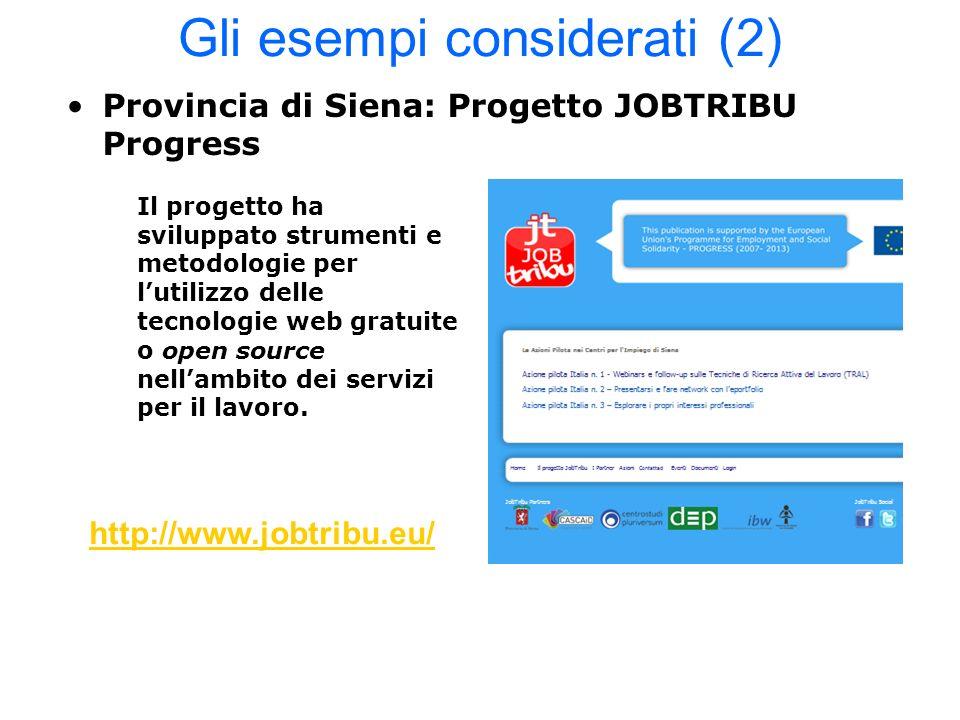 Gli esempi considerati (2) Provincia di Siena: Progetto JOBTRIBU Progress Il progetto ha sviluppato strumenti e metodologie per lutilizzo delle tecnol