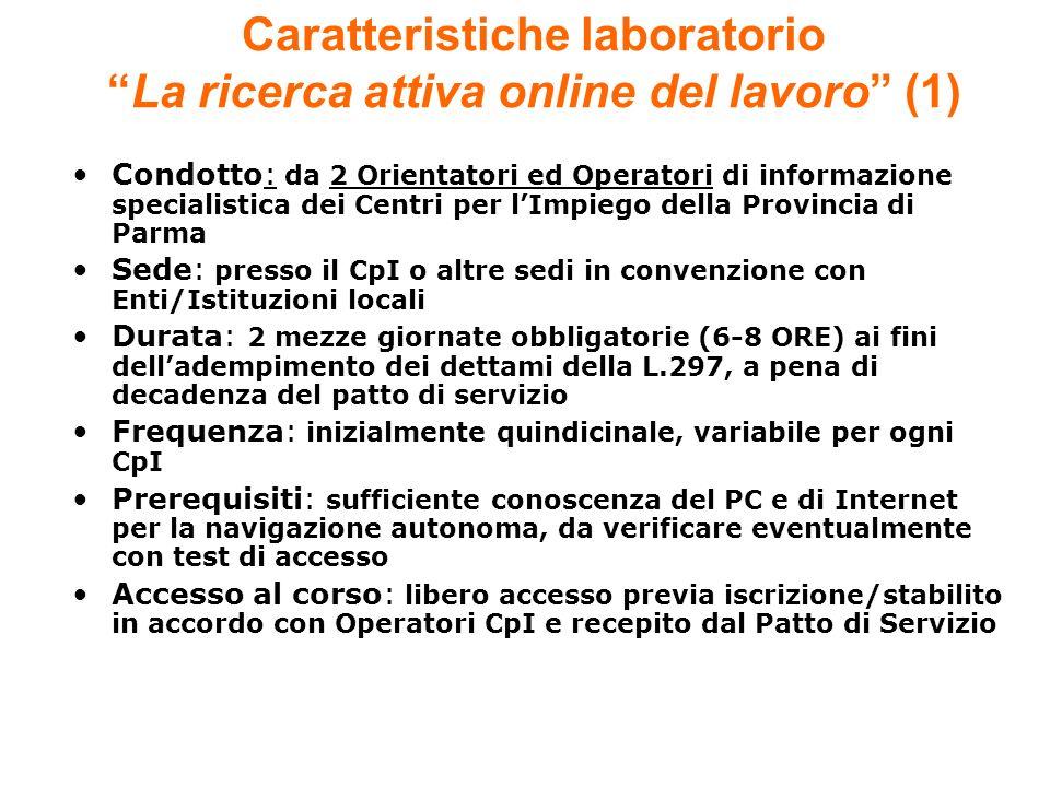 Condotto: da 2 Orientatori ed Operatori di informazione specialistica dei Centri per lImpiego della Provincia di Parma Sede: presso il CpI o altre sed