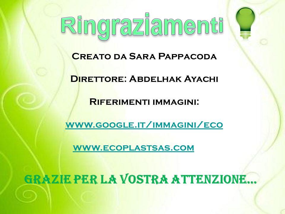 Creato da Sara Pappacoda Direttore: Abdelhak Ayachi Riferimenti immagini: www.google.it/immagini/eco www.ecoplastsas.com Grazie per la vostra attenzione…