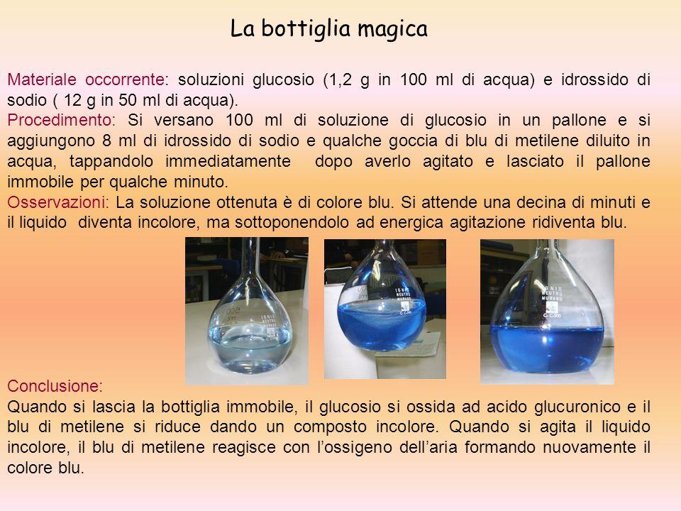La bottiglia magica Materiale occorrente: soluzioni glucosio (1,2 g in 100 ml di acqua) e idrossido di sodio ( 12 g in 50 ml di acqua). Procedimento: