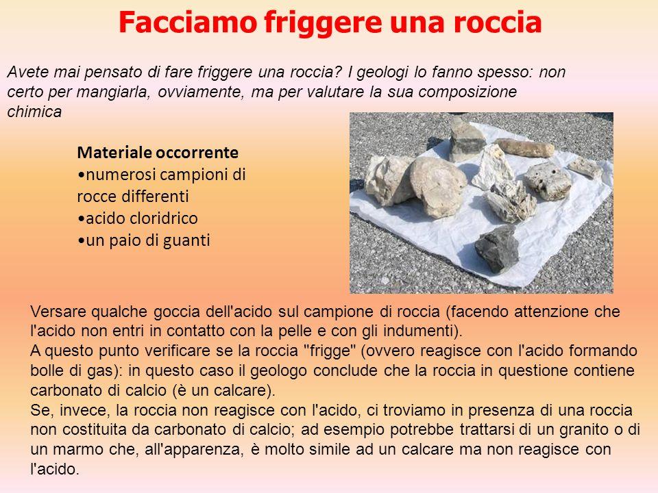 Materiale occorrente numerosi campioni di rocce differenti acido cloridrico un paio di guanti Facciamo friggere una roccia Avete mai pensato di fare f