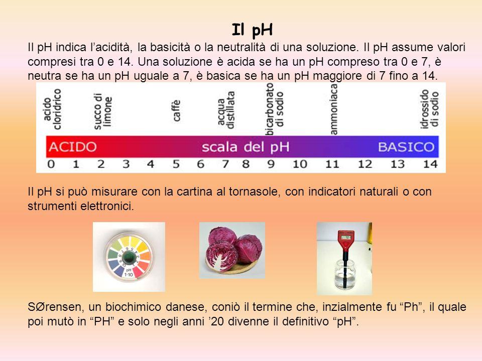 Il pH Il pH indica lacidità, la basicità o la neutralità di una soluzione. Il pH assume valori compresi tra 0 e 14. Una soluzione è acida se ha un pH