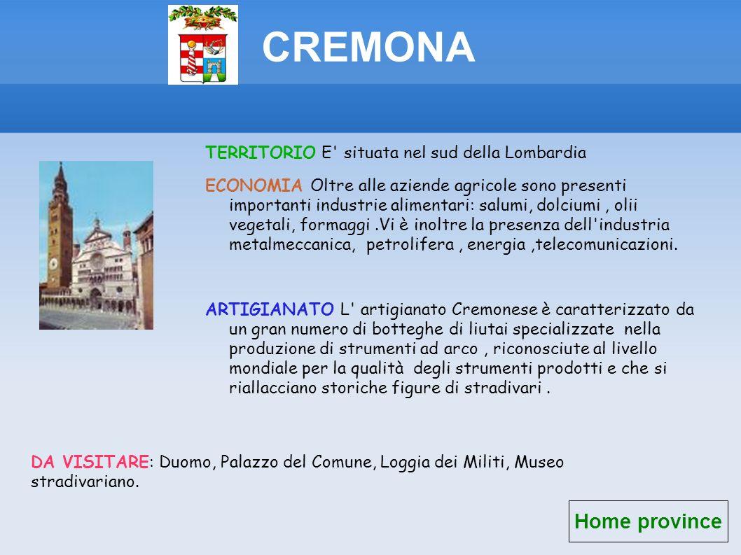 CREMONA TERRITORIO E' situata nel sud della Lombardia ECONOMIA Oltre alle aziende agricole sono presenti importanti industrie alimentari: salumi, dolc