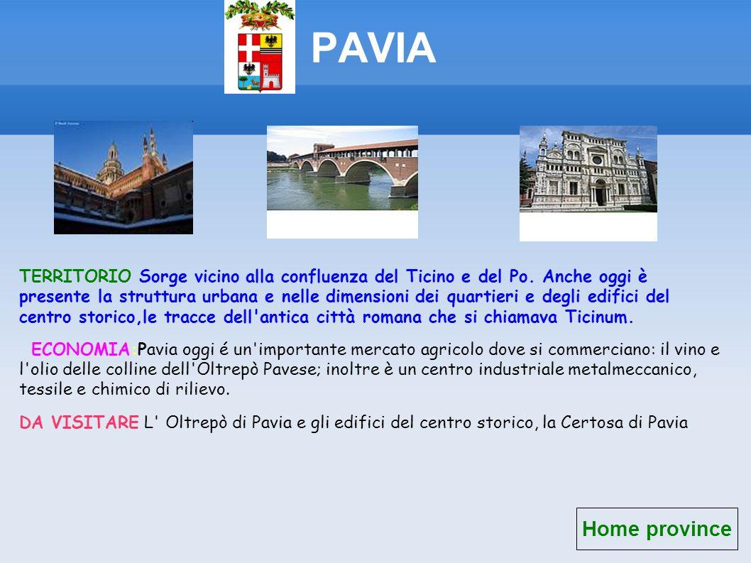 PAVIA Home province TERRITORIO Sorge vicino alla confluenza del Ticino e del Po. Anche oggi è presente la struttura urbana e nelle dimensioni dei quar
