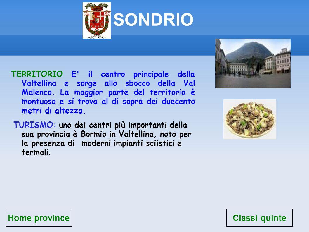 SONDRIO Home province TERRITORIO E' il centro principale della Valtellina e sorge allo sbocco della Val Malenco. La maggior parte del territorio è mon