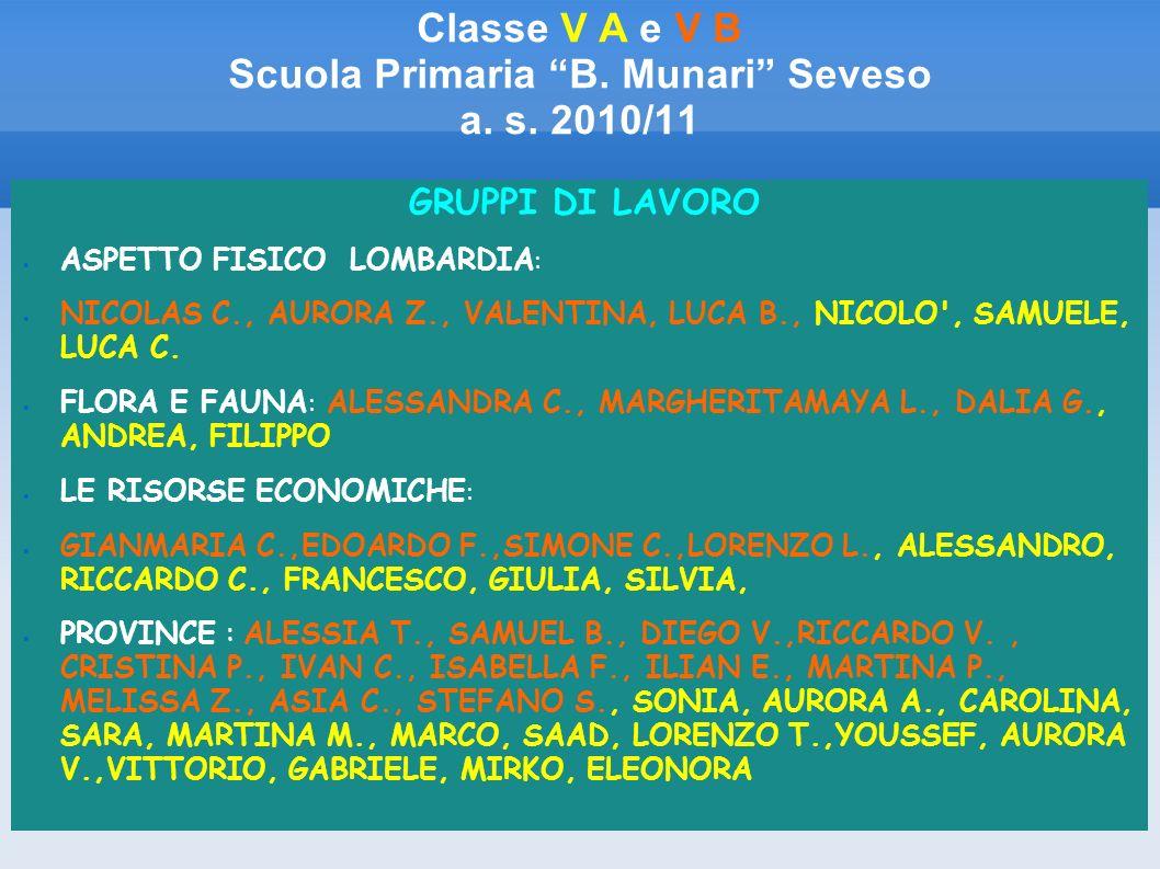 Classe V A e V B Scuola Primaria B. Munari Seveso a. s. 2010/11 GRUPPI DI LAVORO ASPETTO FISICO LOMBARDIA : NICOLAS C., AURORA Z., VALENTINA, LUCA B.,