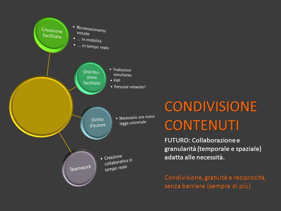 CONDIVISIONE CONTENUTI FUTURO: Collaborazione e granularità (temporale e spaziale) adatta alle necessità. Condivisione, gratuità e reciprocità, senza