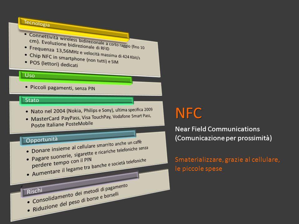 NFC Near Field Communications (Comunicazione per prossimità) Smaterializzare, grazie al cellulare, le piccole spese