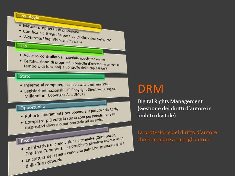 DRM Digital Rights Management (Gestione dei diritti dautore in ambito digitale) La protezione del diritto dautore che non piace a tutti gli autori
