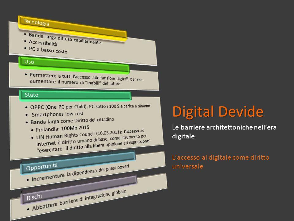 Digital Devide Le barriere architettoniche nellera digitale Laccesso al digitale come diritto universale