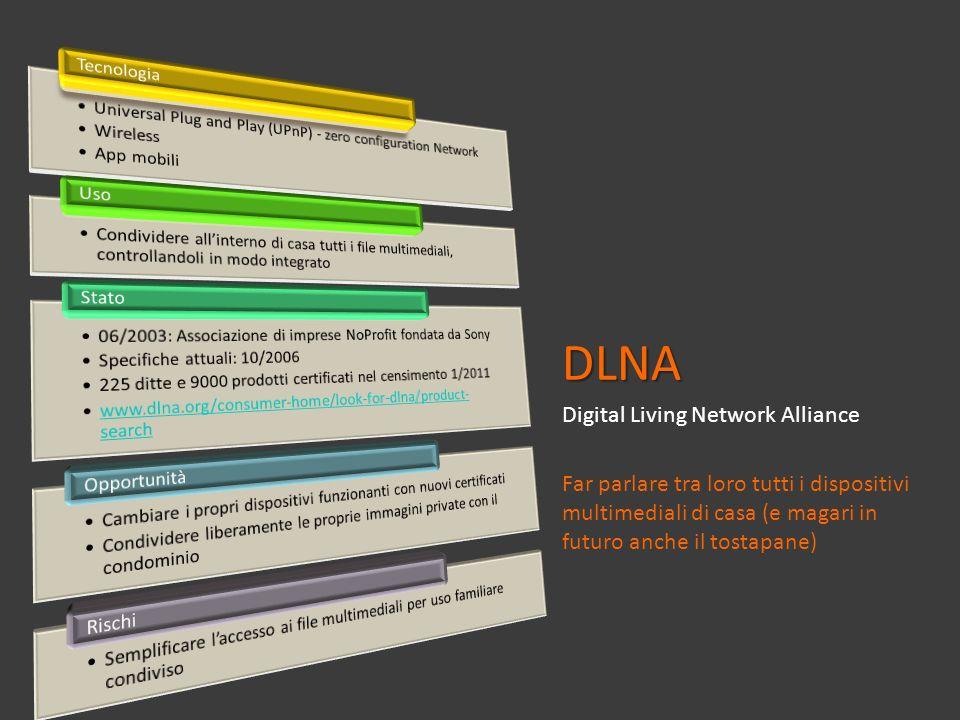 DLNA Digital Living Network Alliance Far parlare tra loro tutti i dispositivi multimediali di casa (e magari in futuro anche il tostapane)