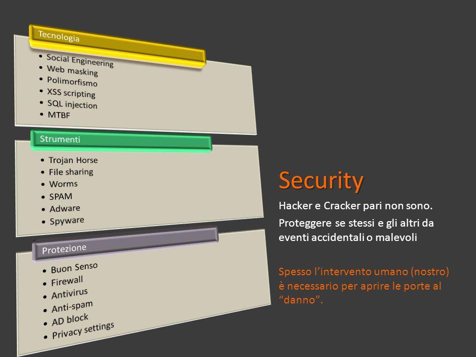 Security Hacker e Cracker pari non sono. Proteggere se stessi e gli altri da eventi accidentali o malevoli Spesso lintervento umano (nostro) è necessa