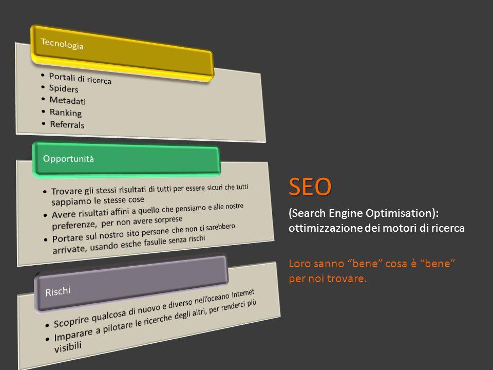 SEO (Search Engine Optimisation): ottimizzazione dei motori di ricerca Loro sanno bene cosa è bene per noi trovare.