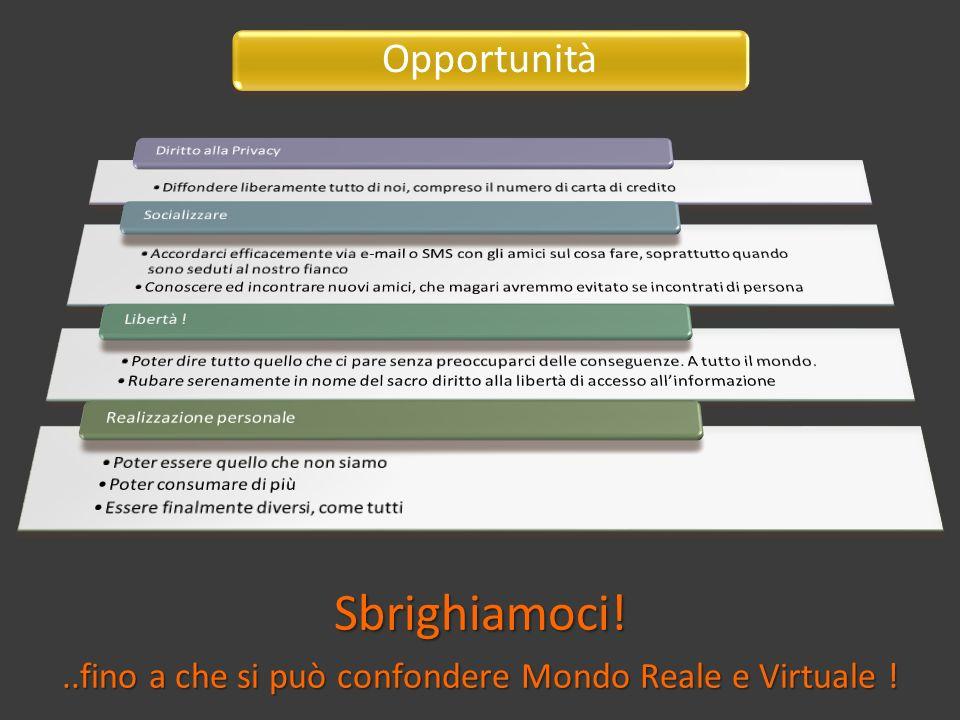 Sbrighiamoci!..fino a che si può confondere Mondo Reale e Virtuale ! Opportunità
