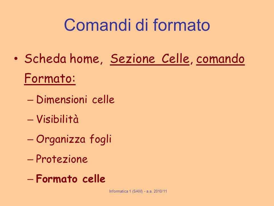 Comandi di formato Scheda home, Sezione Celle, comando Formato: – Dimensioni celle – Visibilità – Organizza fogli – Protezione – Formato celle Informa