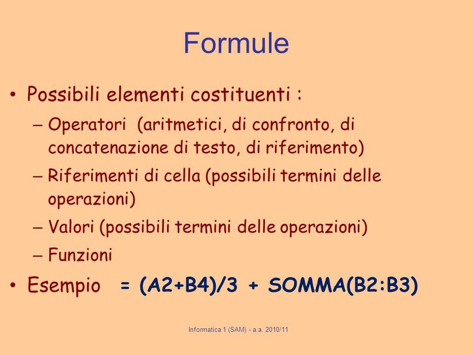 Formule Possibili elementi costituenti : – Operatori (aritmetici, di confronto, di concatenazione di testo, di riferimento) – Riferimenti di cella (po
