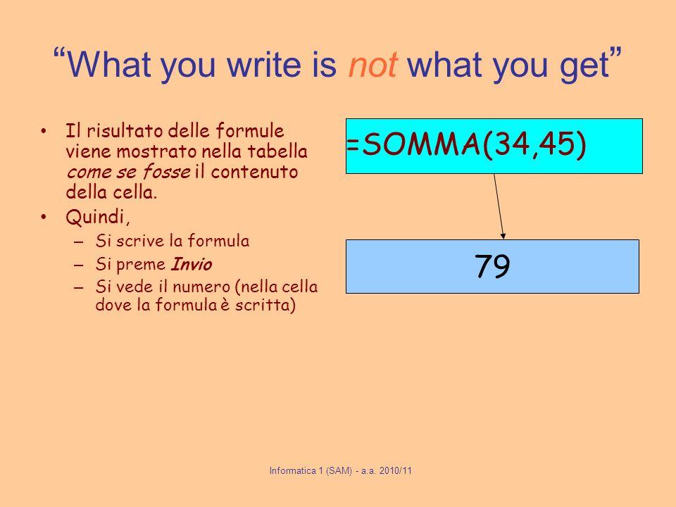 What you write is not what you get Il risultato delle formule viene mostrato nella tabella come se fosse il contenuto della cella. Quindi, – Si scrive