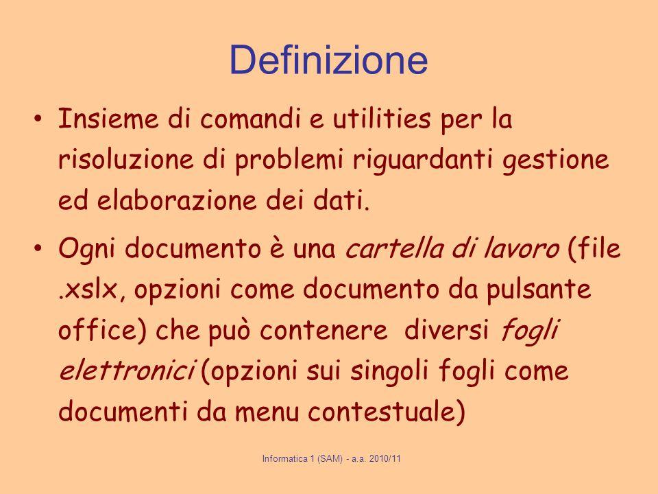 Definizione Insieme di comandi e utilities per la risoluzione di problemi riguardanti gestione ed elaborazione dei dati. Ogni documento è una cartella
