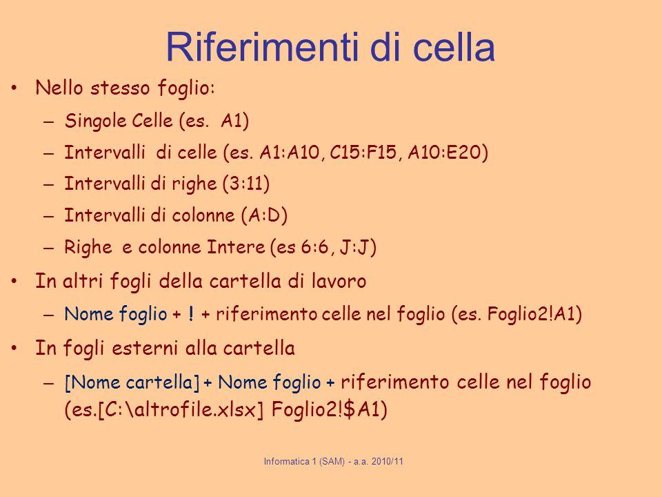 Riferimenti di cella Nello stesso foglio: – Singole Celle (es. A1) – Intervalli di celle (es. A1:A10, C15:F15, A10:E20) – Intervalli di righe (3:11) –