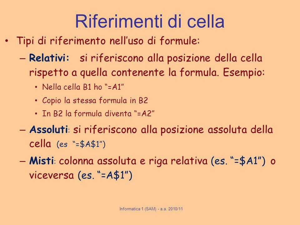 Riferimenti di cella Tipi di riferimento nelluso di formule: – Relativi: si riferiscono alla posizione della cella rispetto a quella contenente la for