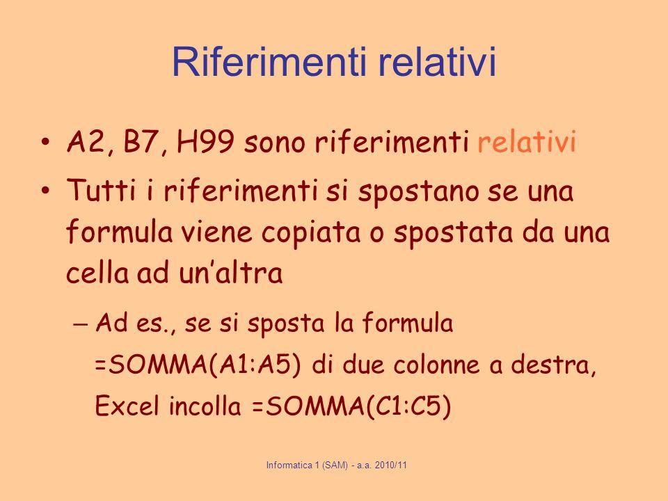 Riferimenti relativi A2, B7, H99 sono riferimenti relativi Tutti i riferimenti si spostano se una formula viene copiata o spostata da una cella ad una