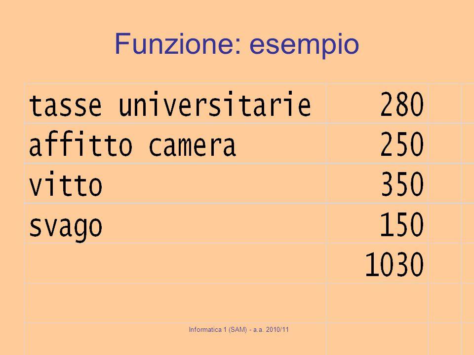 Informatica 1 (SAM) - a.a. 2010/11 Funzione: esempio