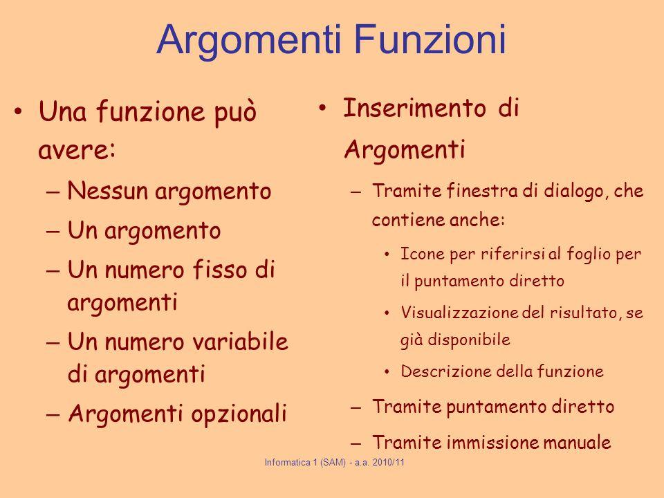 Argomenti Funzioni Una funzione può avere: – Nessun argomento – Un argomento – Un numero fisso di argomenti – Un numero variabile di argomenti – Argom