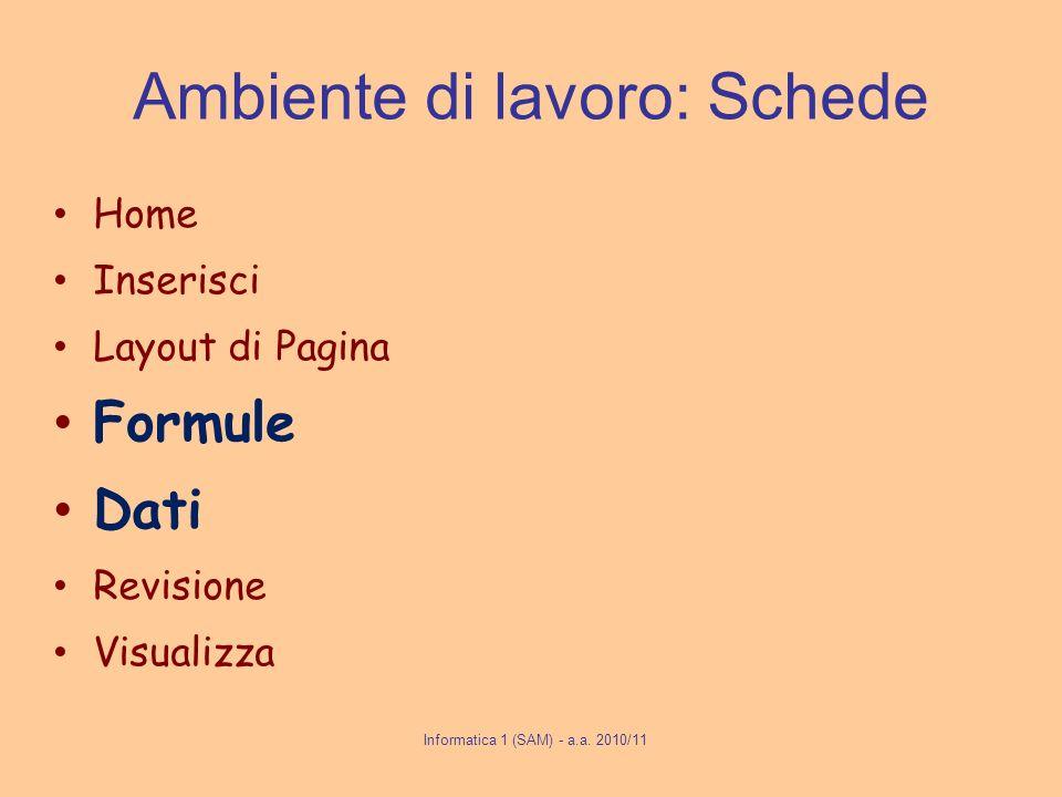 Ambiente di lavoro: Schede Home Inserisci Layout di Pagina Formule Dati Revisione Visualizza Informatica 1 (SAM) - a.a. 2010/11