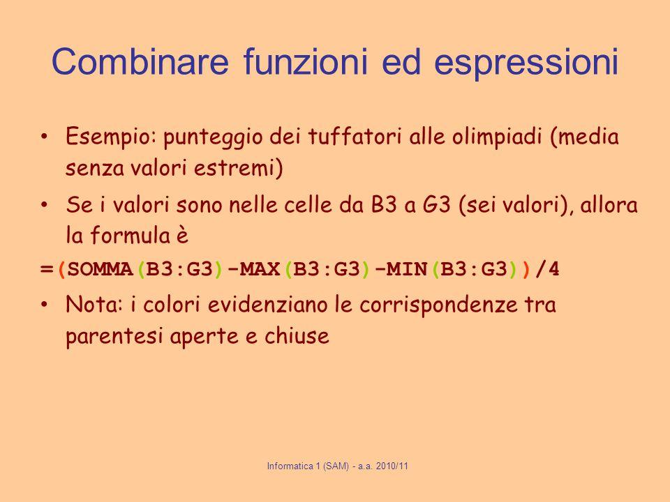 Informatica 1 (SAM) - a.a. 2010/11 Combinare funzioni ed espressioni Esempio: punteggio dei tuffatori alle olimpiadi (media senza valori estremi) Se i