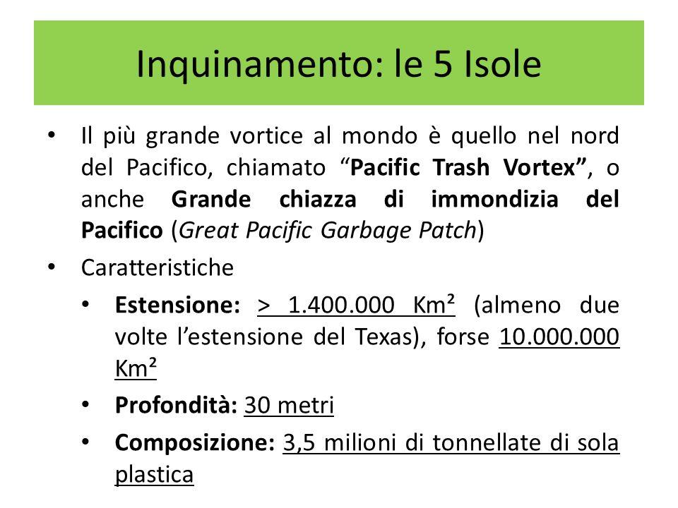 Il più grande vortice al mondo è quello nel nord del Pacifico, chiamato Pacific Trash Vortex, o anche Grande chiazza di immondizia del Pacifico (Great