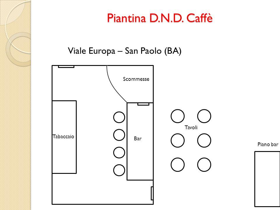 Piantina D.N.D. Caffè Scommesse Bar Tabaccaio Piano bar Tavoli Viale Europa – San Paolo (BA)