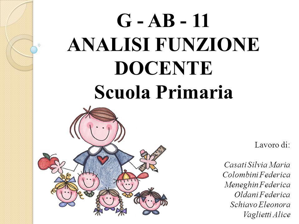 G - AB - 11 ANALISI FUNZIONE DOCENTE Scuola Primaria Lavoro di: Casati Silvia Maria Colombini Federica Meneghin Federica Oldani Federica Schiavo Eleon