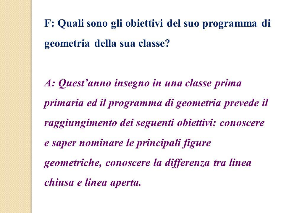 F: Quali sono gli obiettivi del suo programma di geometria della sua classe? A: Questanno insegno in una classe prima primaria ed il programma di geom