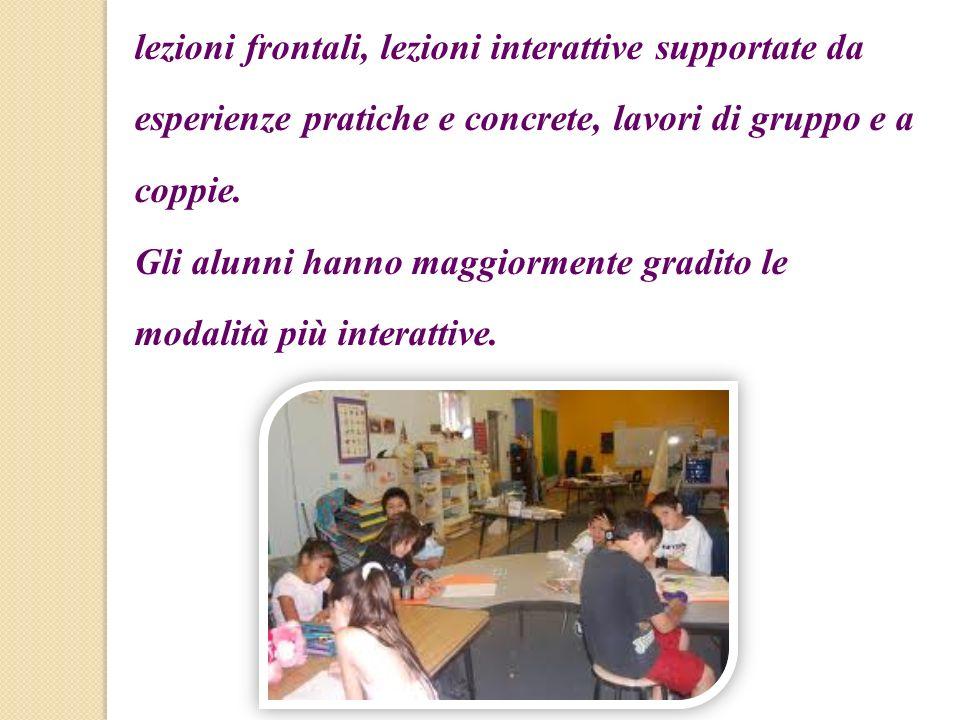 lezioni frontali, lezioni interattive supportate da esperienze pratiche e concrete, lavori di gruppo e a coppie. Gli alunni hanno maggiormente gradito