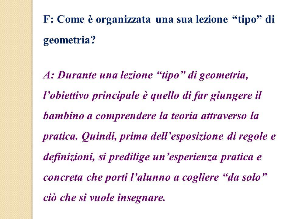 F: Come è organizzata una sua lezione tipo di geometria? A: Durante una lezione tipo di geometria, lobiettivo principale è quello di far giungere il b