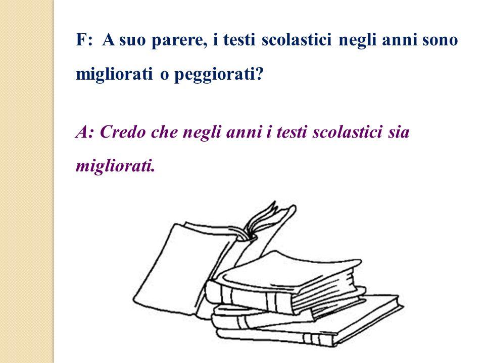 F: A suo parere, i testi scolastici negli anni sono migliorati o peggiorati? A: Credo che negli anni i testi scolastici sia migliorati.