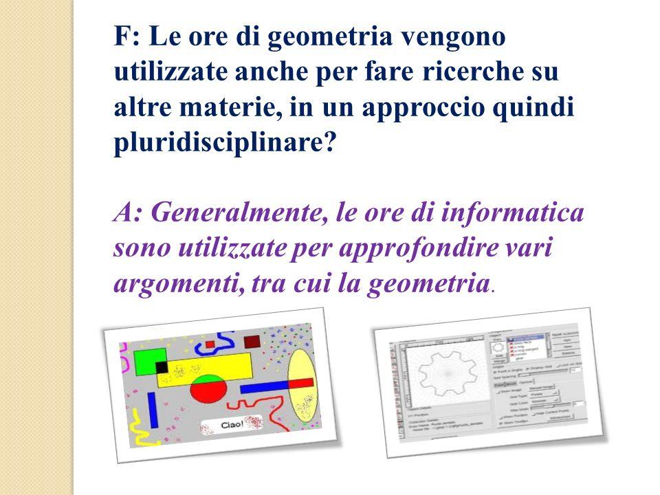 F: Le ore di geometria vengono utilizzate anche per fare ricerche su altre materie, in un approccio quindi pluridisciplinare? A: Generalmente, le ore